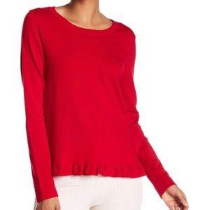 Adrianna Papell Red Ruffled Hem Crewneck Sweater